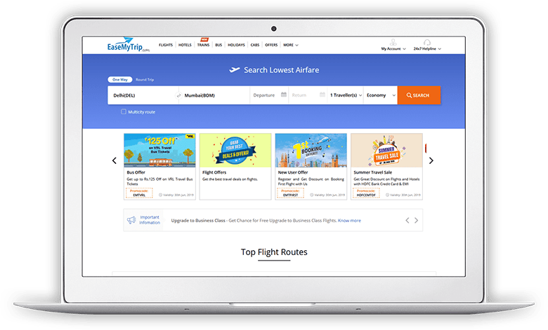 EaseMyTrip Screen 1