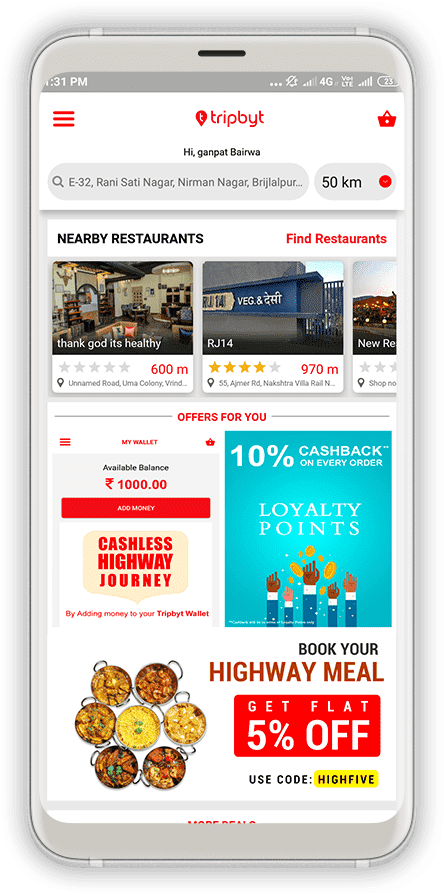 Tripbyt-Food & Drink Screen 1