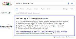 google's featured snippet