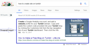 google's paragraph snippet